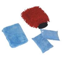 Lot 2 gants et 2 éponges de nettoyage auto